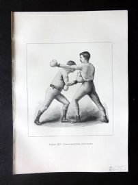 Badminton Library 1889 Boxing Print. Cross Counter Body-Blow